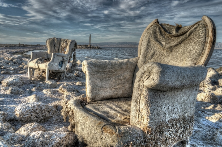 Abandoned discarded chairs at the Salton Sea.