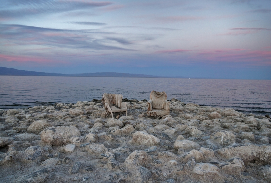 photographing chairs at the Salton Sea